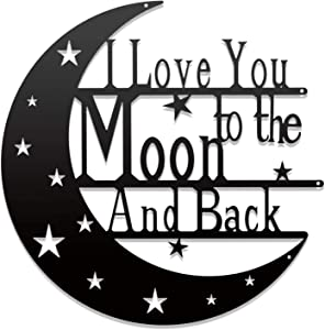 Cleaky I Love You To The Moon And Back Wall Decor Art Sign Love Quote Monogrammed Gift For Anniversary Valentine's day Home Bedroom Decor Wall Hanging Metal Laser Sign 12'' Black
