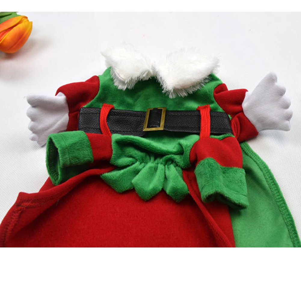 Christmas Dog Coat Elf Pet Santa Claus Costume Cat Outfit with Cape and H  sc 1 st  eBay & Christmas Dog Coat Elf Pet Santa Claus Costume Cat Outfit with Cape ...