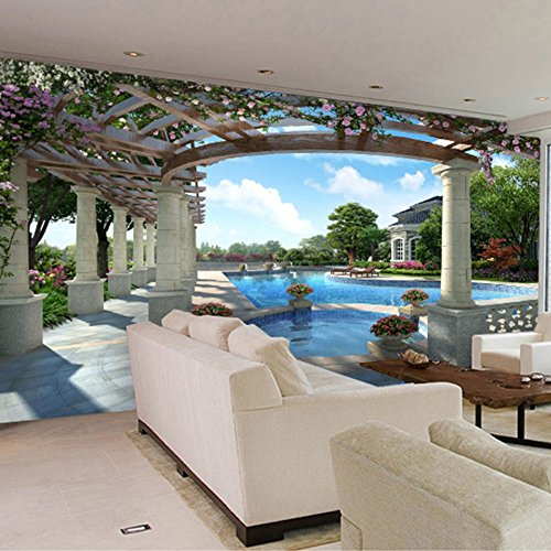 Colomac Wall Mural Modern Luxury Villa Swimming Pool Garden Mural Suitable for Living Room Home Decor Bedroom Study Sofa TV Background Wallpaper 78.8 Inch x 59 Inch by colomac (Image #1)