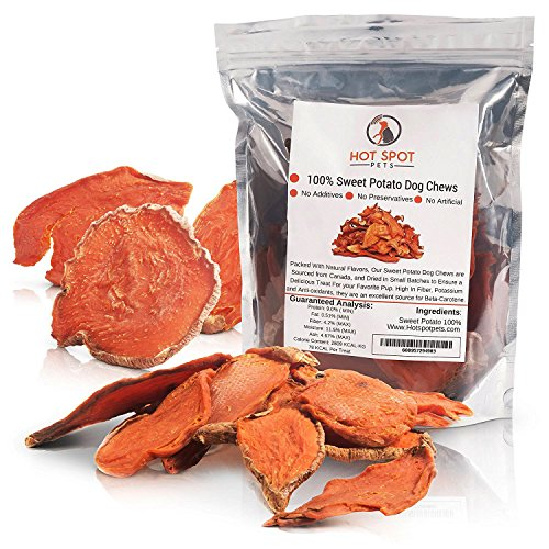 Natural Sweet Potato Dog Treats - No Fillers, Preservatives, or Harmful Ingredients - 15 Oz - Grain Free & Low Protein Diet for Sensitive Pets - Edible Tasty 100% Vegetarian Dog Chews-