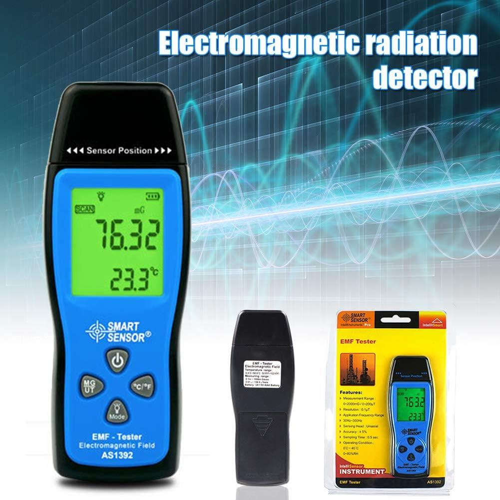PerGrate Electromagnetic Radiation Detector Blue Black Electromagnetic Field Radiation Detector Handheld EMF Detector Digital LCD Radiation Meter Test Tool