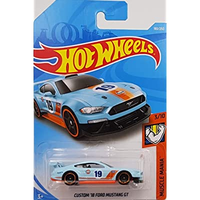 Hot Wheels 2020 Muscle Mania Custom '18 Ford Mustang GT 180/250, Light Blue and Orange: Toys & Games