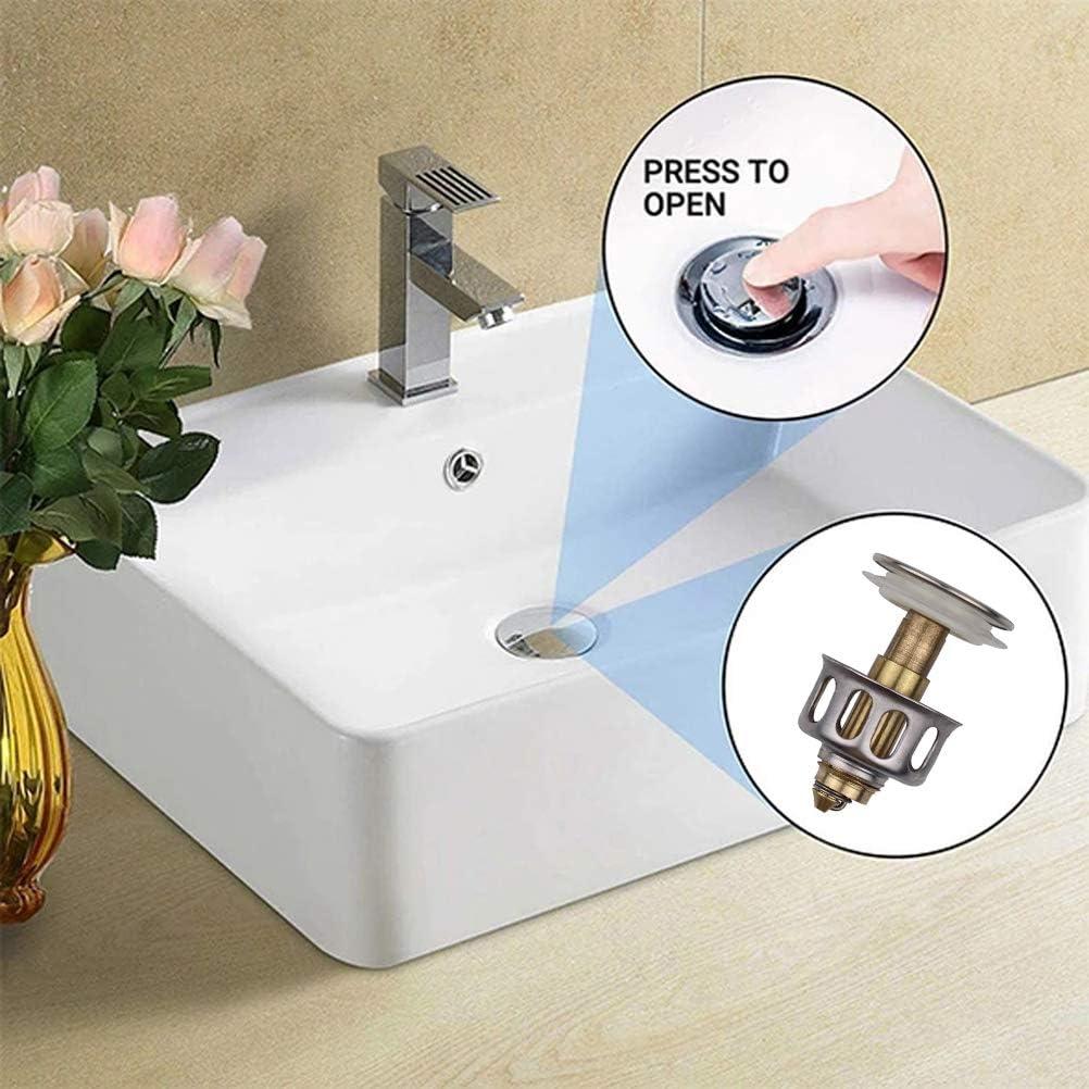 WLPTION Universal Drain Protector,Universal Drain Stopper Wash Basin Bounce Drain Filter Pop Up Bathroom Sink Drain Plug with Basket