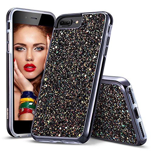 iPhone 8 Plus Case, iPhone 7/6S Plus Case for Girls, DGtek™ Protective Glitter Bling Hybrid Heavy Duty Sparkle Dual Layer Hard PC + Soft TPU for Apple iPhone 8 Plus 5.5 & iPhone 7 Plus (Black)