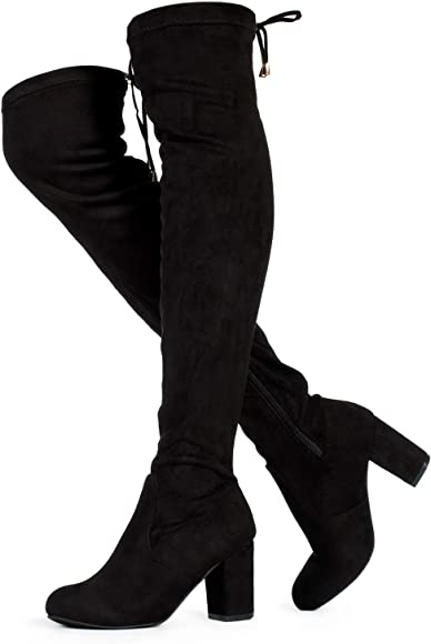 Womens Over The Knee Thigh High Chunky Heel Ladies Stretch Calf Leg Boots