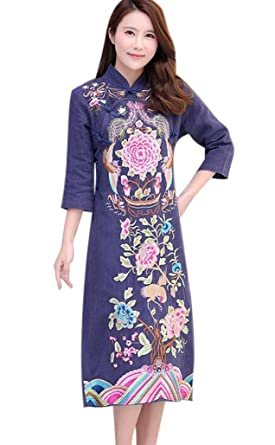 91d3070b741 Aro Lora Women's Long Qipao Flower Embroidery Cheongsam Wedding Dress US  4-6 Navy