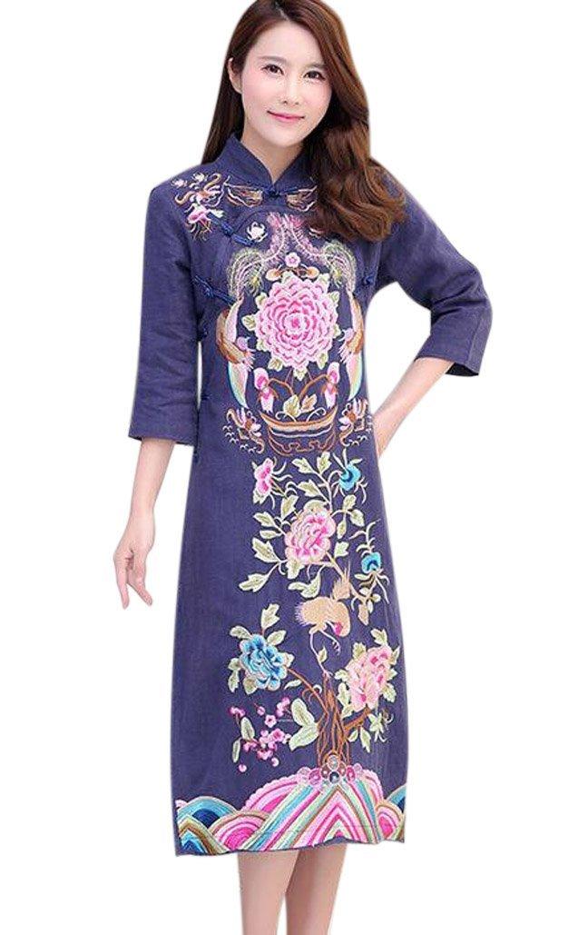 Aro Lora Women's Long Qipao Flower Embroidery Cheongsam Wedding Dress US 8-10 Navy