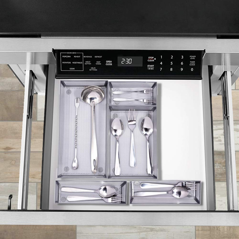 Expandable Kitchen Drawer Organizer, 5 Separate Compartment with Anti-slip Mats Mesh Kitchen Cutlery Trays Silverware Storage Kitchen Utensil Flatware Tray by Furniture Life (Image #5)
