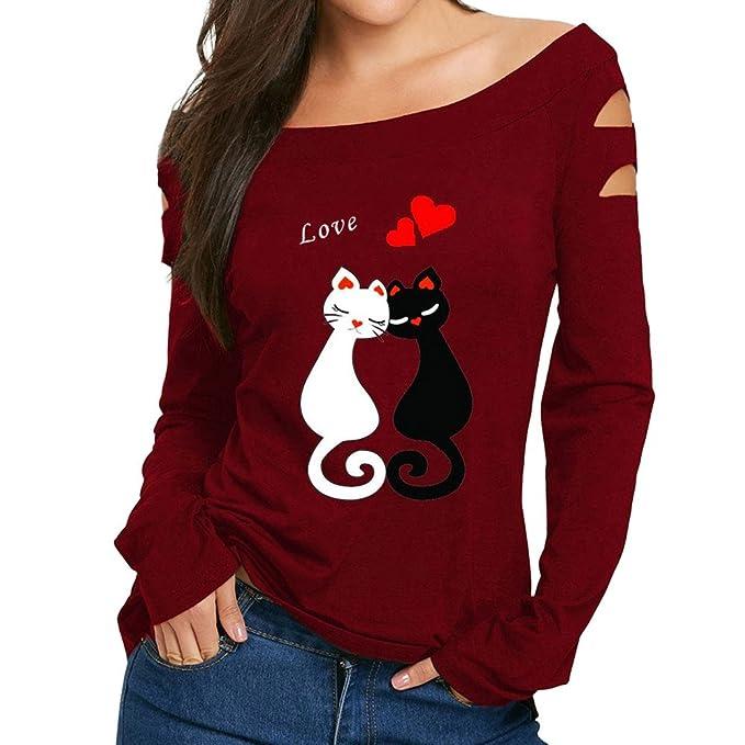 Gusspower Blusa para Mujer Estampadas Moda,Camisas sin Hombros Gato y Amor Imprimir Arriba Cómodo