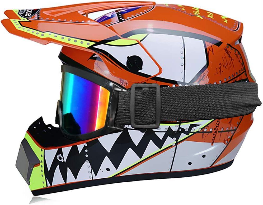 Casque de motocross MX pour enfants casque de moto ATV Casque D T Certified Rockstar Multicolor avec Lunettes Gants O Bleu,S
