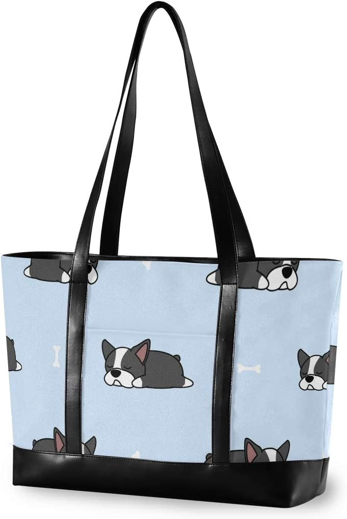 Large Woman Laptop Tote Bag - Cute Boston Terrier Puppy Pattern Canvas Shoulder Tote Bag Fit 15.6 Inch Computer Ladies Briefcase for Work School Shopping