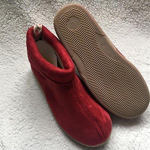 W&XY Hombre Invierno Zapatillas Calentar de gamuza Costura al aire libre acolchadas Resistencia a la humedad Antideslizante para interiores Zapatos de algodón 42