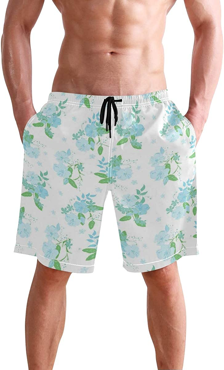 COVASA Mens Summer ShortsEnchanted Forest in Spring Fresh Growth Foliage with