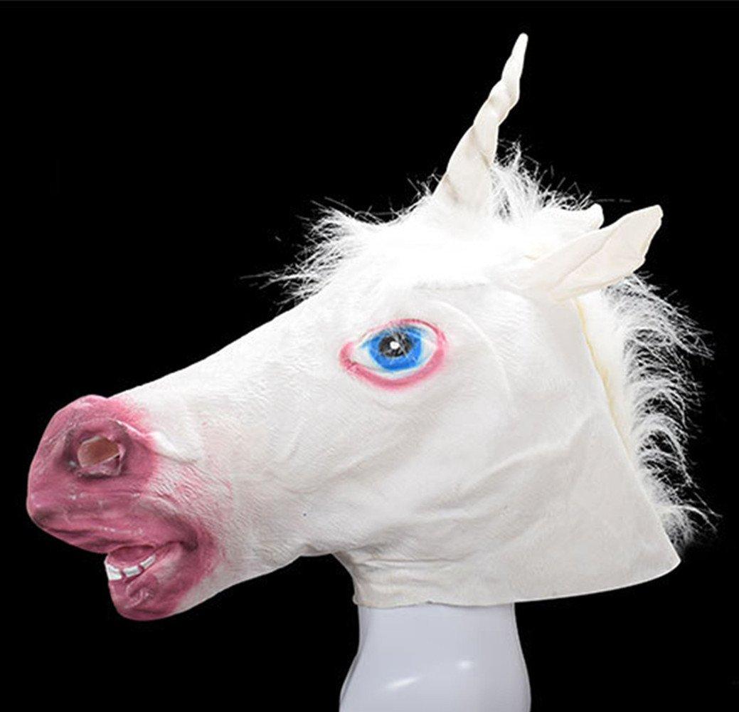Creative Halloween Halloween Mask, Unicorn, White Horse Head Mask, Festival Party, Animal Mask