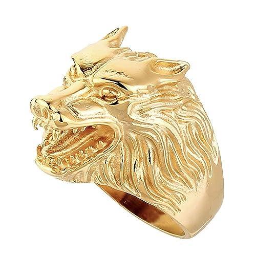 9b4cc20d34ce BOBIJOO Jewelry - Anillo Anillo Anillo de Hombre con Cabeza de Lobo Clan de  la Fuerza de los Animales de Acero Inoxidable de Oro de Oro  Amazon.es   Joyería