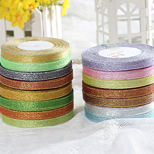 (Jammas 3/8''(10mm) Silver Glitter Ribbon Webbing for Craft Bow Cake Christmas Gift Decoration DIY Craft Decoration Wrapping Riband - (Color: 45))