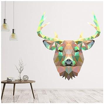 Geometrically STAG DEER HEAD AND ANTLERS Vinyl Wall Sticker Art