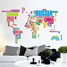 Amaonm Quotes Colorful English Words World Map in Country Names Wall Decals Removable Wall Stickers Murals Wallpaper Peel & Stick for Tv Background Living Room Classroom (Colorful)