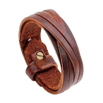 09f9d8e33c81 Pulsera de hombre 2Layers Diseño de Cinturón Simple Para Hombre Pulsera de Cuero  Pulseras de Estilo