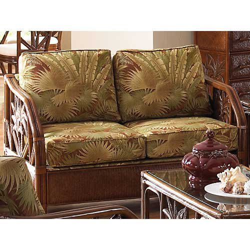 Pelican Reef Cancun Palm Upholstered Rattan and Wicker Loveseat with Cushions, PE-401-1365-TCA-L