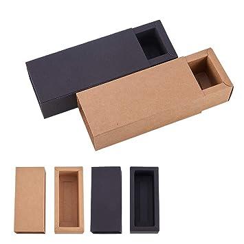 BENECREAT 20 Pack Caja de Cartón Kraft Cajas de Regalo para Fiesta Superior Envase de Joyería - 2 Colores 12.3x5.4x3.5cm