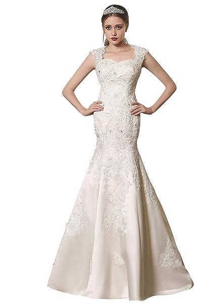 Adasbridal-Romanticos vestidos de novia de raso de escote Queen Anne de encaje apliques de
