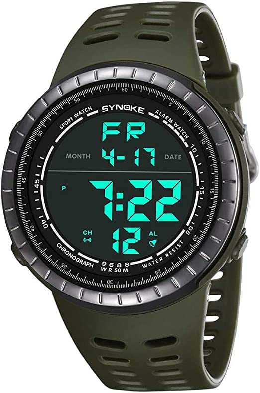 Men Watches Hessimy Men's Digital Sports Watch LED Screen Large Face Military Watches and Waterproof Casual Luminous Electronics Watch Back Light