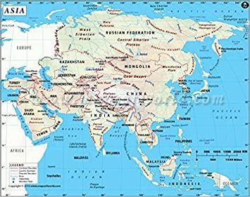 Karte Asien.Asien Karte 91 4 Cm W X 72 1 Cm H Amazon De Bürobedarf