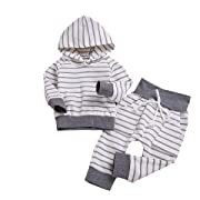 Newborn Baby Boys Girls Hooded Sweatshirt T-Shirt Tops+Striped Pants Kids Outfits Clothes Set (Grey, 6-12M)