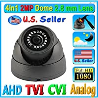 LEXAcctv 4in1 HD 2MP 1080P 2.8mm Wide Angle View Lens TVI AHD CVI Analog (CVBS) CCTV Dome Camera Night vision OSD Controller Waterproof Weatherproof Hard Metal Vandal Proof Black Gray
