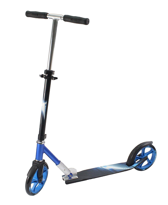 Alu-Scooter Tretroller für Kinder Jugendliche und Erwachsene, City-Roller Höhe verstellbar, faltbarer Klapproller stabil bis 100kg, große Räder 200mm hochwertige ABEC7- Kugellager blau/schwarz Hi Mark