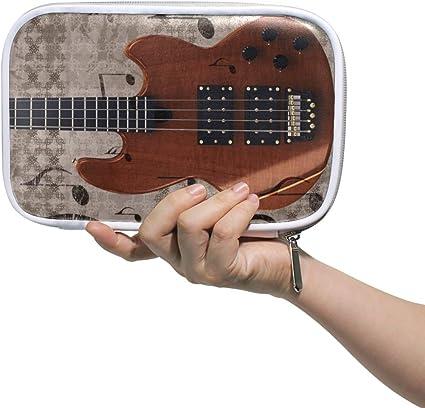 Estuche de lápices Bolso cosmético de cuero Instrumento musical Organizador de guitarra eléctrica Gran capacidad para viajes escolares: Amazon.es: Oficina y papelería