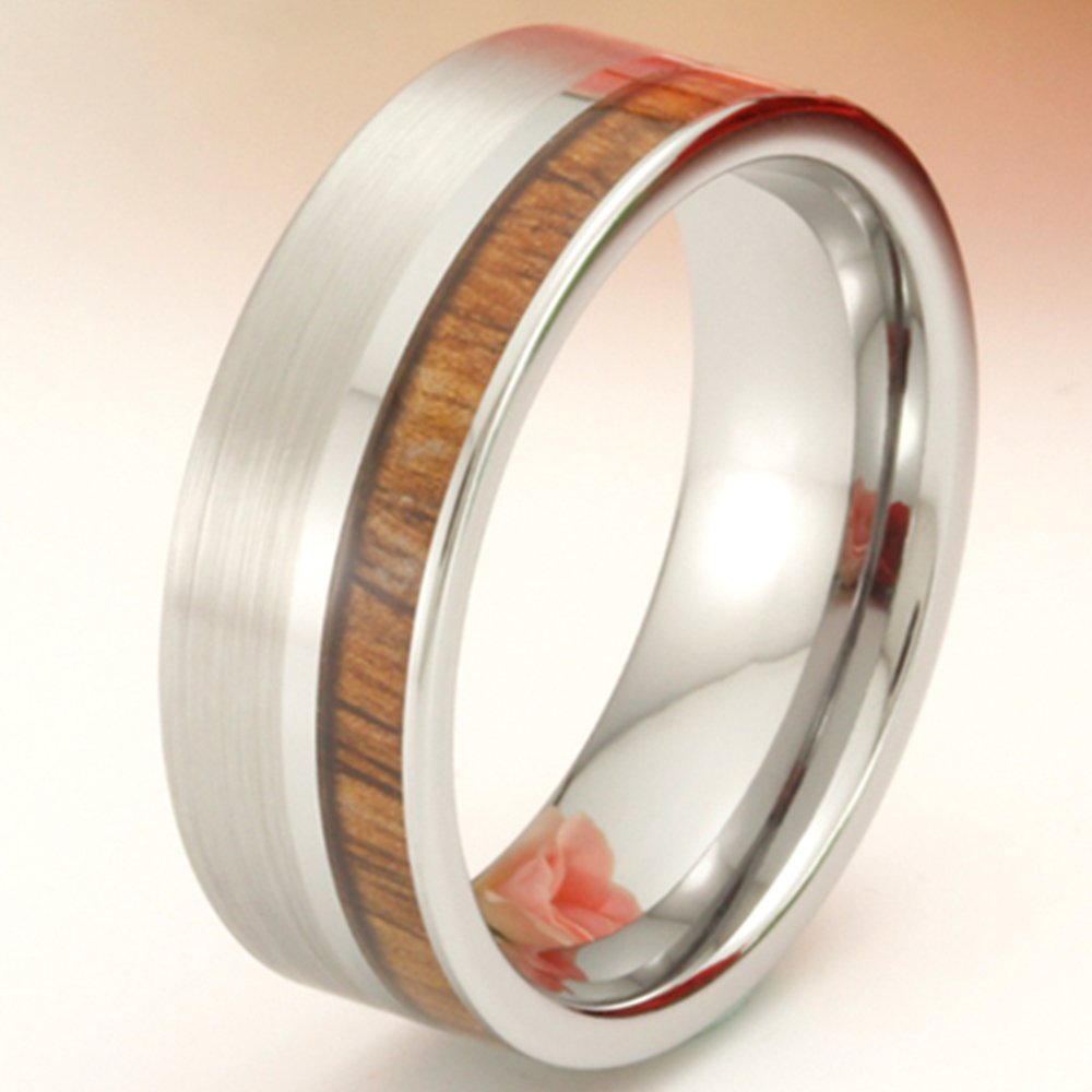 Men Women Tungsten Silver Couple Ring Vintage Wedding Engagement White Band with 100% Koa Wood Flat Top by Fashion Month (Image #5)
