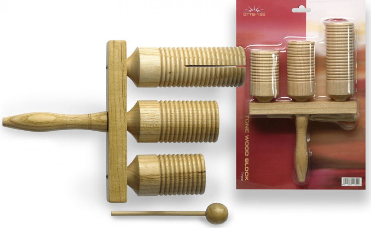 Stagg GTTB-126 3-Tone Wooden Agogo Bell with Beater