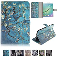 Galaxy Tab S2 8.0 Case-UUcovers Smart Shell Fashion Design Pattern Stand Cover for Samsung Galaxy Tab S2 Tablet (8.0 inch SM-T710 /SM-T715) (Blue Painting Tree)