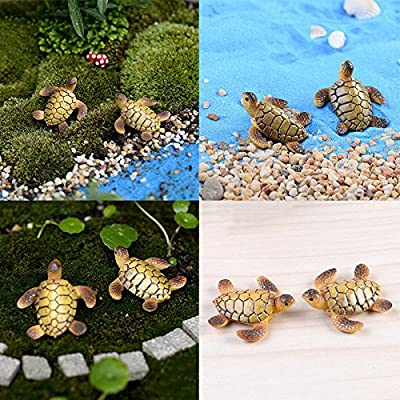 uhoMEy 1pc Miniature Sea Turtle Dollhouse Bonsai Fairy Garden Landscape Decor