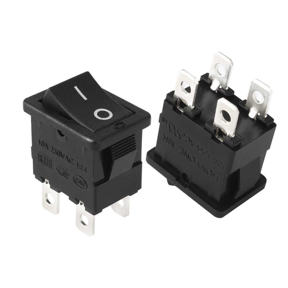 Uxcell Ac 12a 125v 10a 250v Dpst On Off Button 4p 2 5pcs Lot Push Switch 3a 1 Circuit Non Locking Position I O Rocker Boat Sports Outdoors