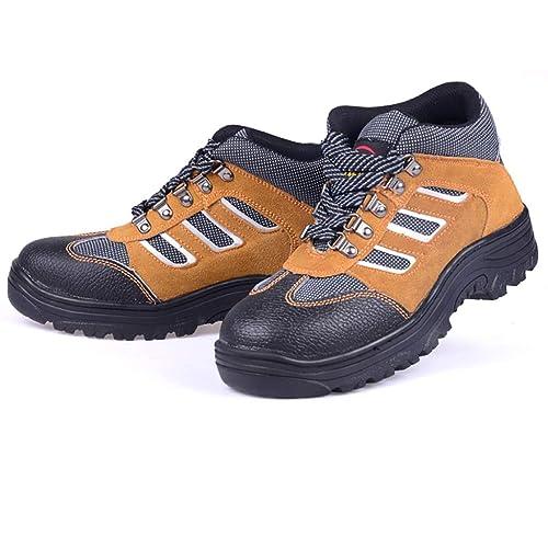 Zapatos de fondo blando Puntera de acero macho Anti-aplastamiento Desgaste transpirable de cuero Zapatos