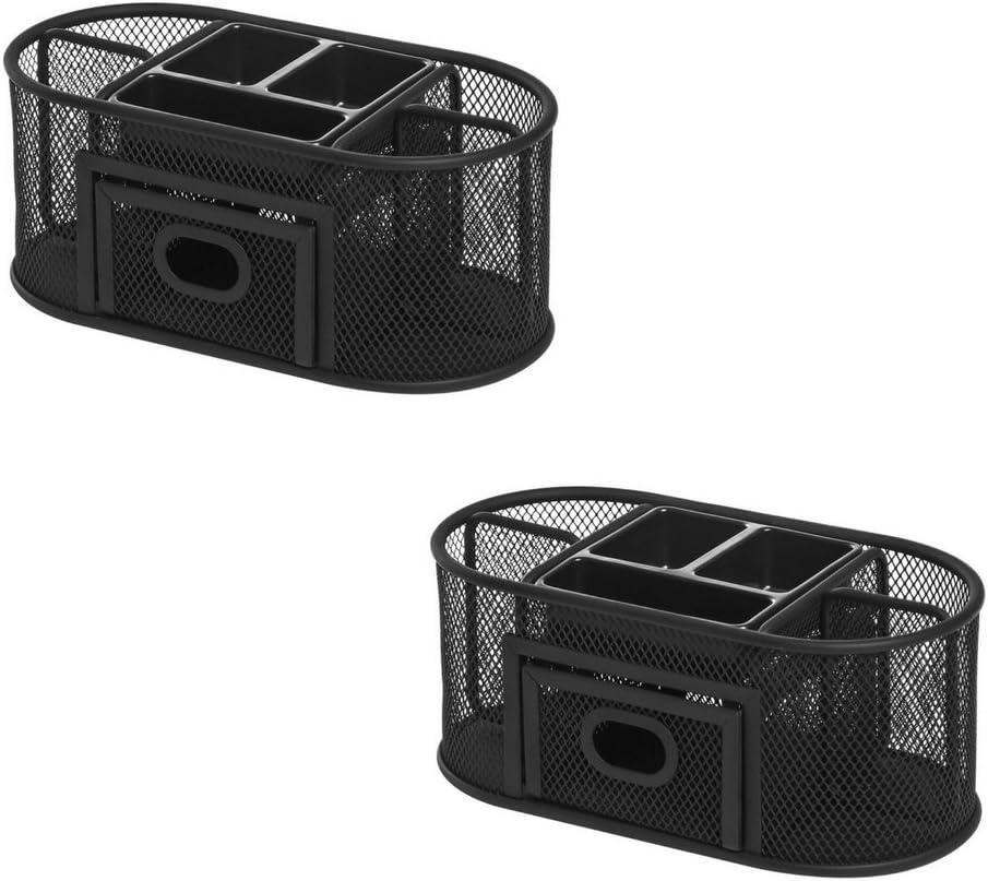Lorell Mesh Steel Multipurpose Desktop Organizer, Black (2 Pack)