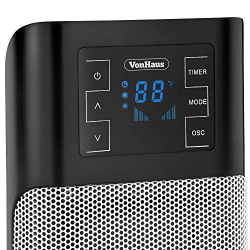 Vonhaus 1500w Oscillating Ceramic Tower Fan Heater With