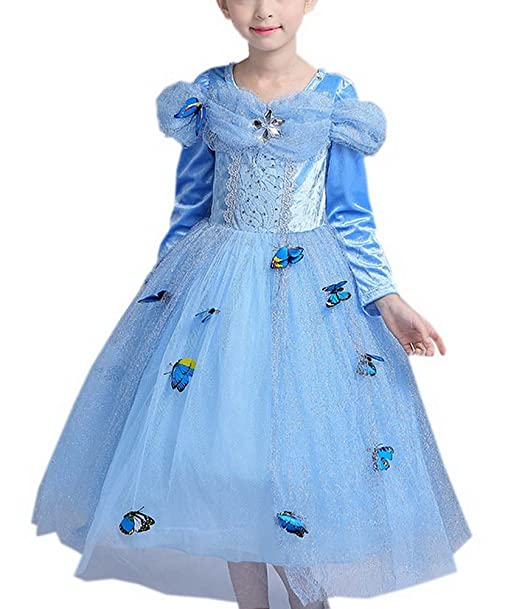 Amazon.com: vokamara manga larga para niña mariposa vestido ...
