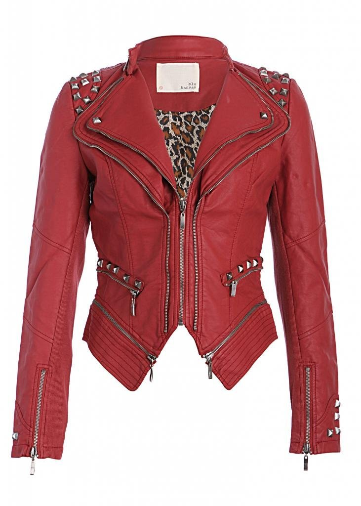 Red Studded Punk Style PU Faux Leather Slim Fit Moto Jacket - Size Small