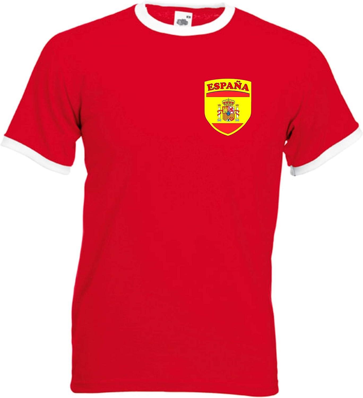 Invicta Screen Printers Camiseta española de España del Equipo Nacional de fútbol Escudo Retro Jersey - Todos los tamaños: Amazon.es: Ropa y accesorios