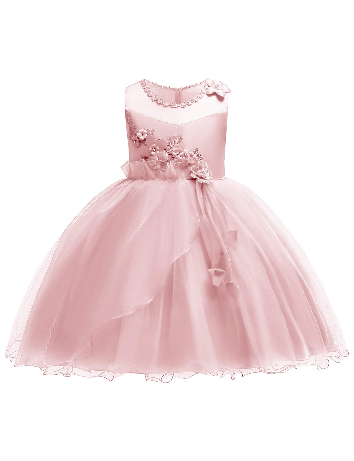 JOYMOM Girls' Special Occasion Dresses, Teens Sleeveless Embellished Neckline 3D Embroidery Pageant Dress Flower Girl Mesh Ball Gown Weddings Pink Size (140) 8-9 Years