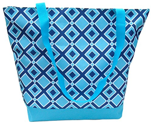 (Best Designer Deluxe Diamond Turquoise Zip-top Organizing Utility Tote Bag Purse for Canvas Gym Work Teen Girl Women)