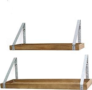 Stratton Home Decor Wood & Metal (Set of 2) Shelves, 20.08 W X 7.28 D X 7.87 H, Wood, Galvanized