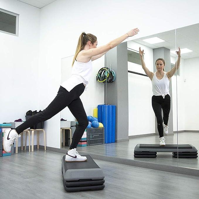 Goodbuy - Step Profesional de 1,10m, Altura Regulable, Plataforma Step Fitness, Stepper Aeróbic y Cardio para Ejercicios Gimnasia en casa