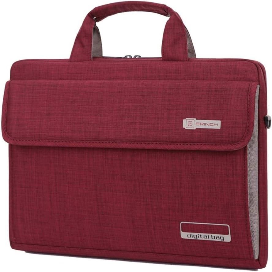 Hemengjuan Nylon Big Capacity 13.3 14 15.6 Inch Laptop Bag,Notebook Protective Case Computer Bags Color : Dark Red, Size : 14incht