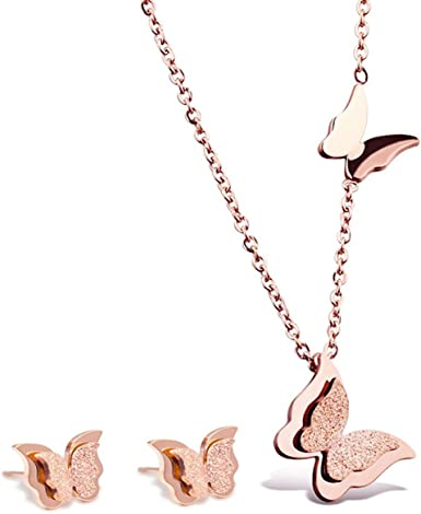 Fashion Cute Butterfly Pendant Necklace Stainless steel Women/'s Chain Jewelry