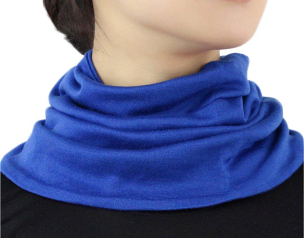 Women Silk Cashmere Neck Gaiter Autumn Winter Warmth Knitted Neck Scarf (One Size, Sapphire Blue)